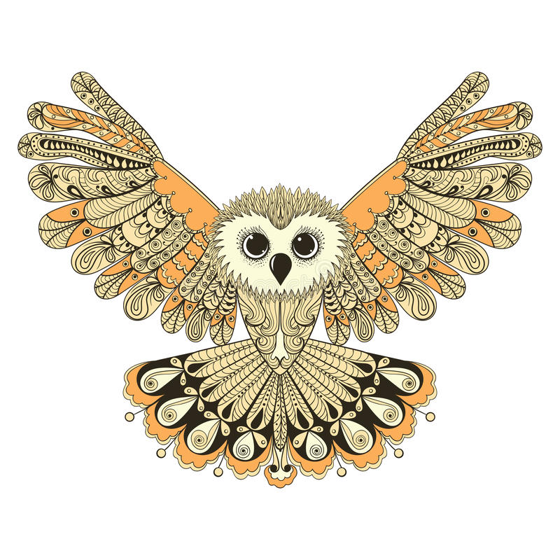 Zentangle a stylisé le hibou de vol de Brown Illustrat tiré par la main de vecteur illustration stock