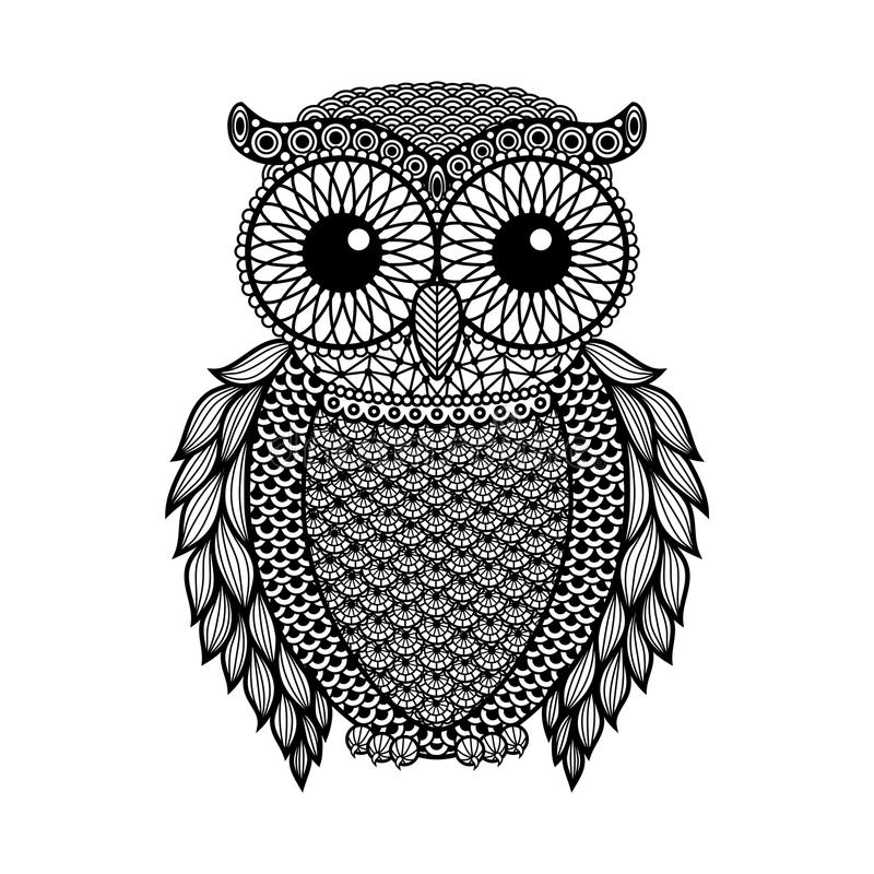 Zentangle a stylisé le hibou noir Illustration tirée par la main de vecteur d'isolement sur le fond blanc illustration stock