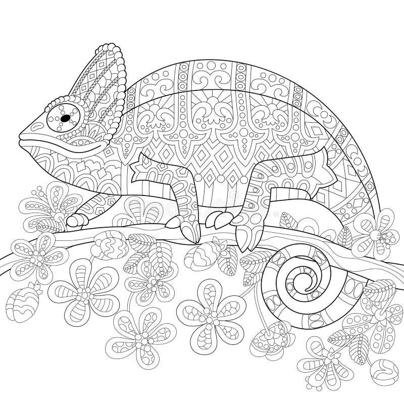 Zentangle a stylisé le lézard de caméléon illustration libre de droits