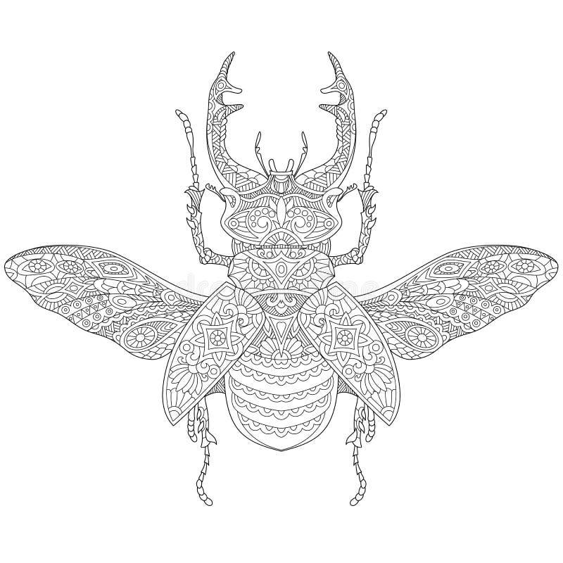 Zentangle a stylisé le mâle-scarabée (le cervus de Lucanus) illustration stock