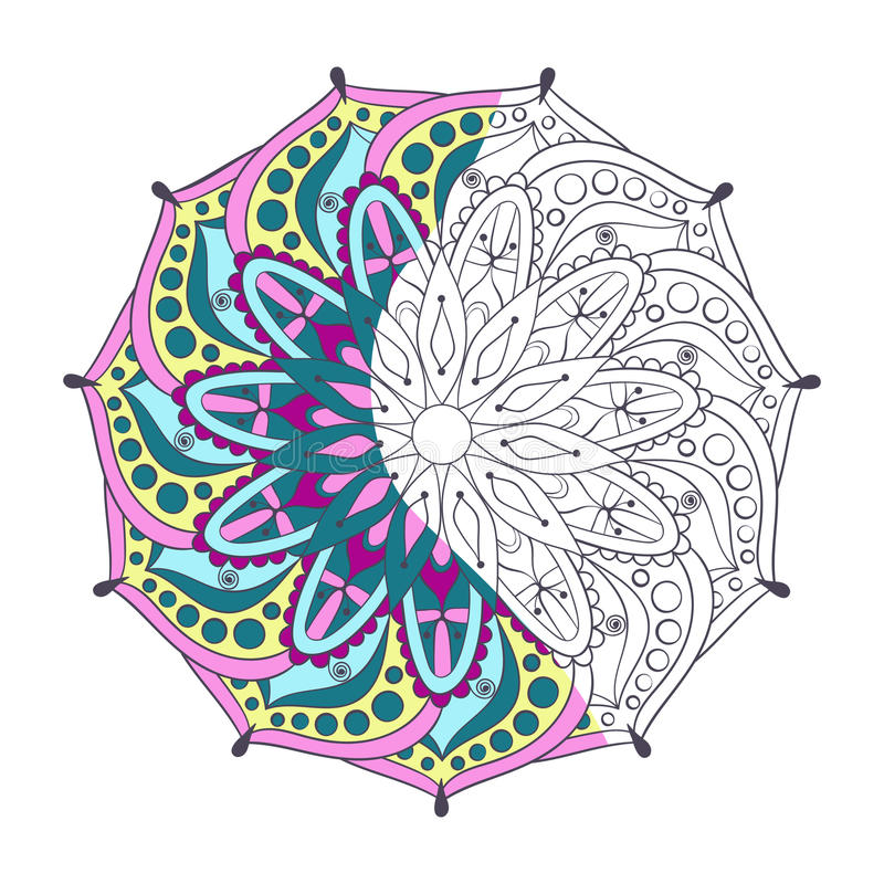 Zentangle a stylisé le mandala indien de couleur élégante pour la coloration illustration de vecteur