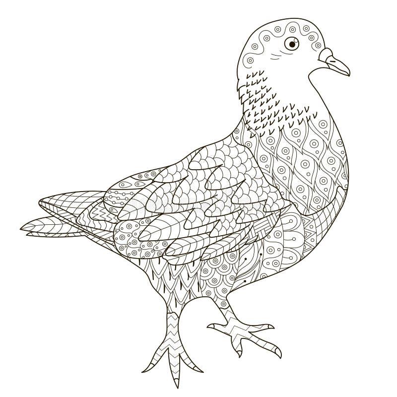 Zentangle a stylisé le pigeon pour la page de coloration illustration libre de droits