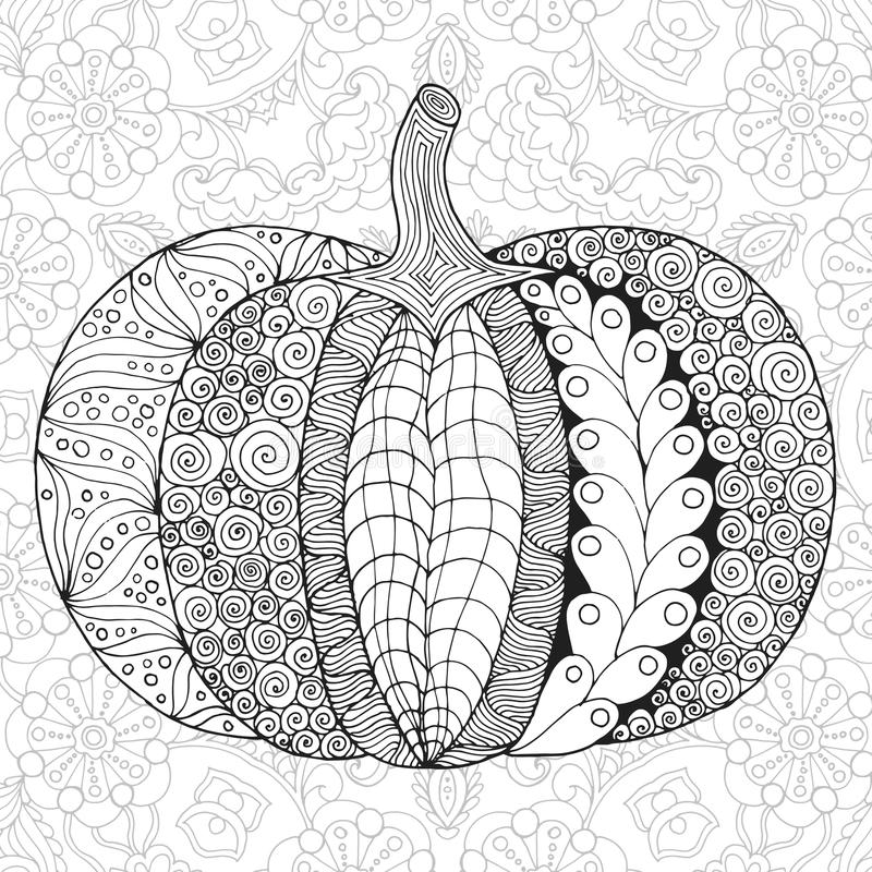 Zentangle a stylisé le potiron illustration libre de droits