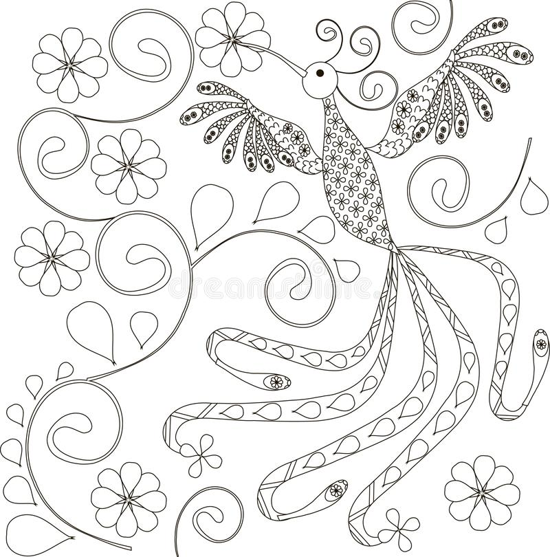 Zentangle a stylisé tiré par la main noir et blanc d'oiseau illustration stock