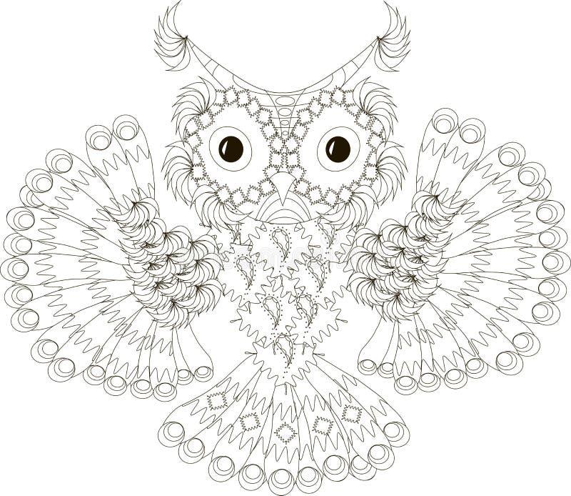 Zentangle a stylisé tiré par la main noir et blanc de hibou de vol illustration de vecteur
