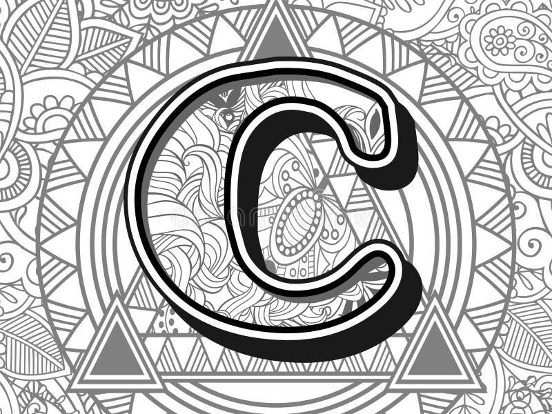 Download Zentangle Stylized Alphabet Letter C Stock Vector