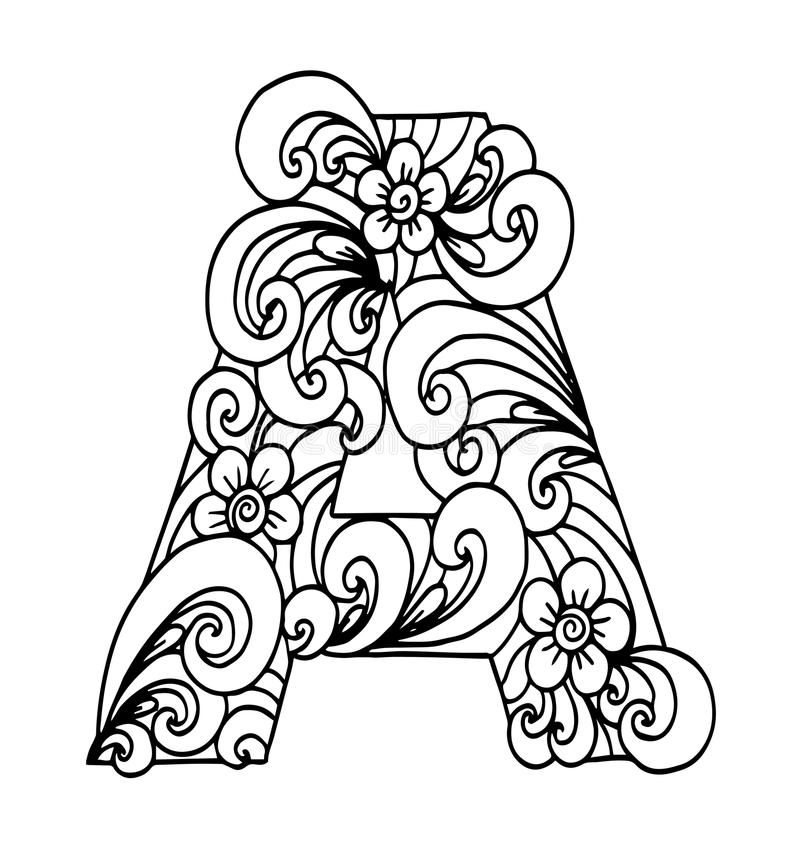 Zentangle stylized alphabet. Letter A in doodle style. stock illustration
