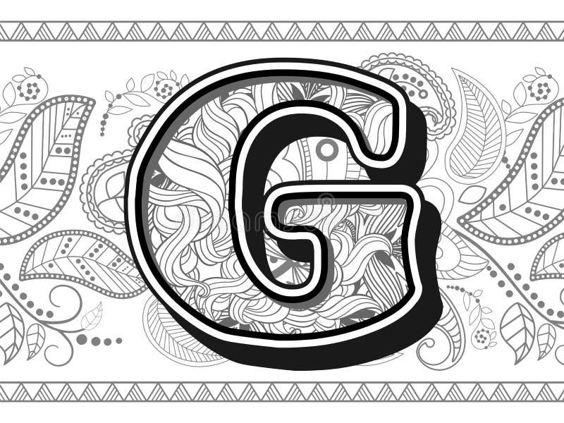 Zentangle Stylized Alphabet Letter G. Hand Drawn