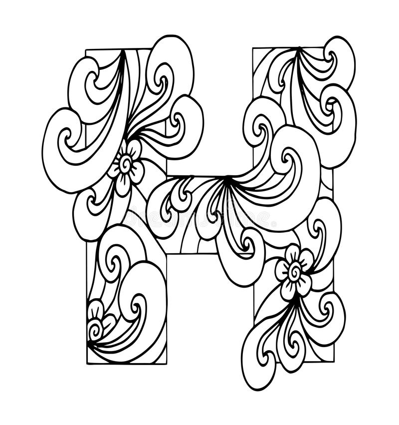 Download Zentangle Stylized Alphabet Letter H In Doodle Style Stock Illustration