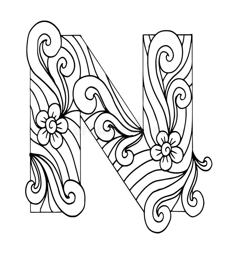 zentangle coloring pages letter n | Zentangle Stylized Alphabet. Letter N In Doodle Style ...