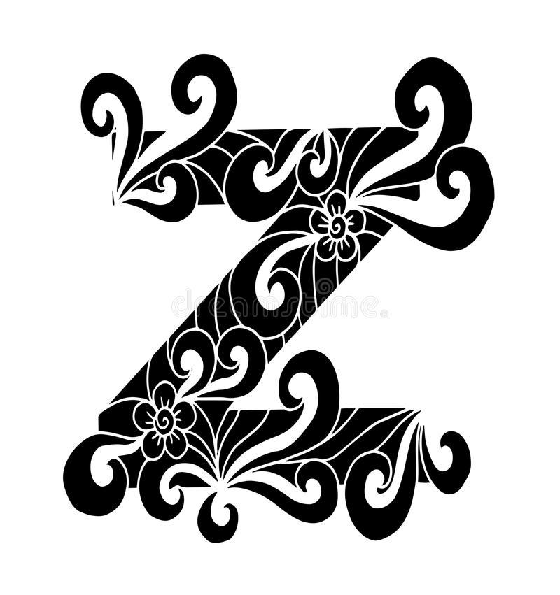 Download Zentangle Stylized Alphabet Letter Z In Doodle Style Hand Drawn Sketch Font Stock