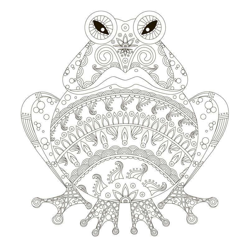 Zentangle stylized angry hand drawn frog black and white hand drawn stock illustration
