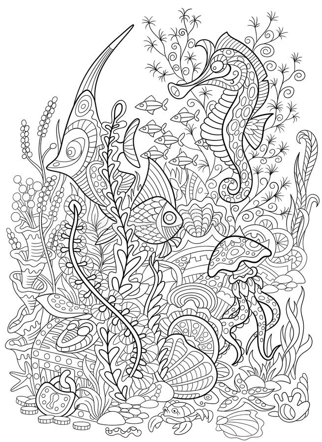 Zentangle stylized animal set sea collection. Ocean life. royalty free illustration