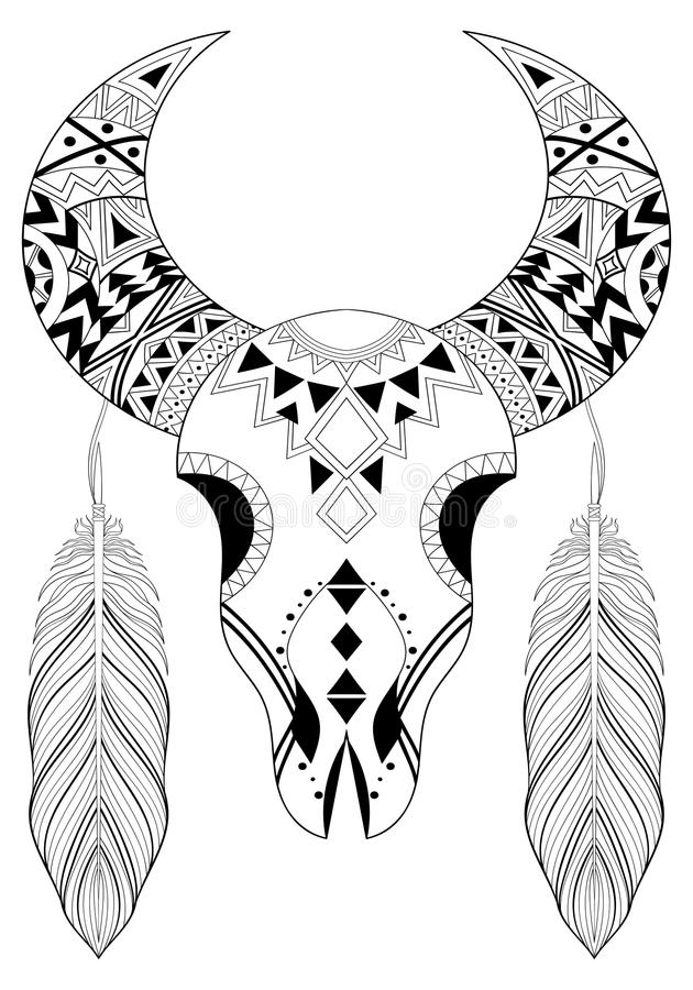 Download Zentangle Stylized Animal Skull With Boho Feathers Hand Drawn E Stock Vector