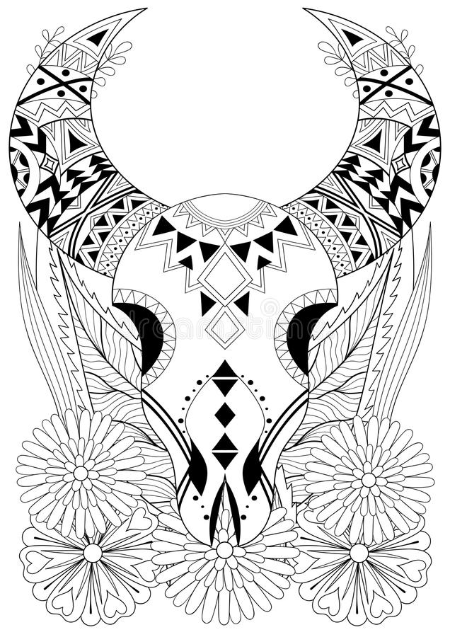 Zentangle Stylized Animal Skull With Flowers. Hand Drawn Ethnic ...
