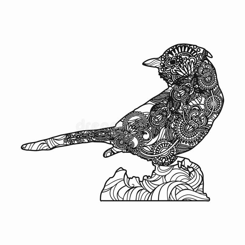 Download Zentangle Stylized Bird Illustration. Hand Drawn Doodle  Illustration Isolated On White Background. Stock