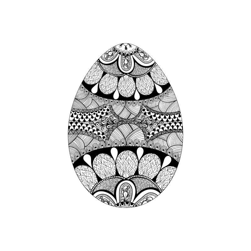 Zentangle stylized black Easter Egg. Hand Drawn royalty free illustration
