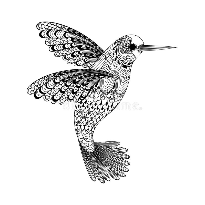 Zentangle stylized black Hummingbird. Hand Drawn. Illustration isolated on white background. Sketch for tattoo or makhenda. Bird collection