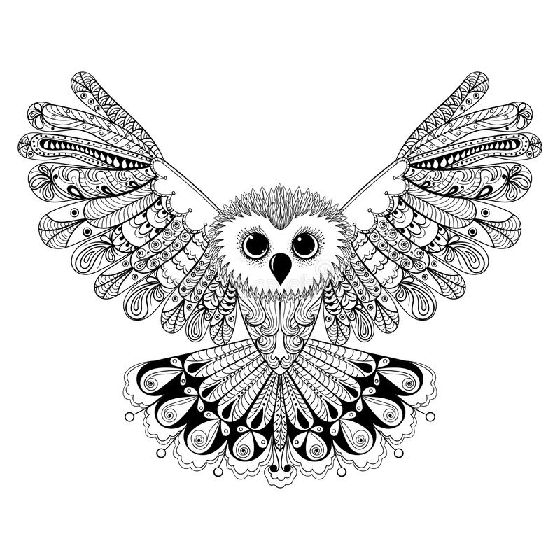 Free Zentangle Stylized Black Owl. Hand Drawn Vector Illustration Iso Stock Photos - 58751193
