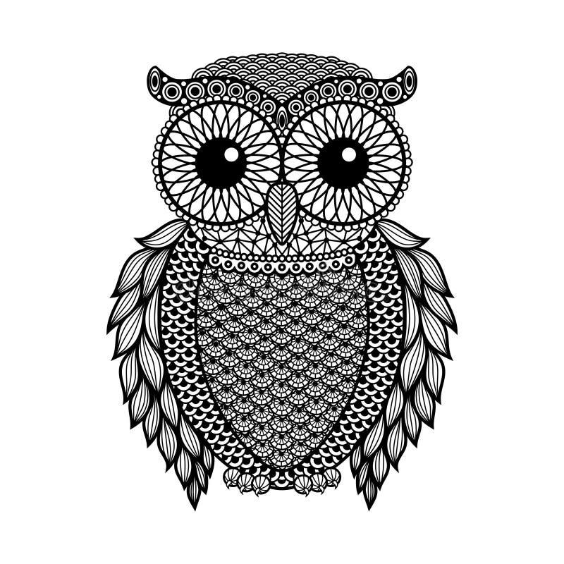 Zentangle stylized Black Owl. Hand Drawn vector illustration isolated on white background. stock illustration