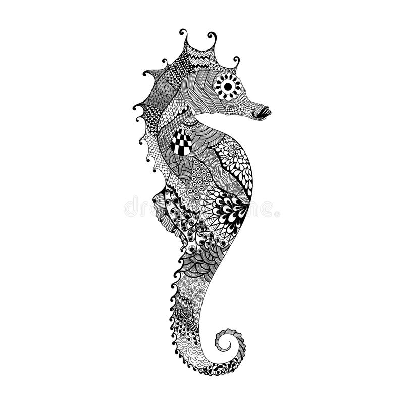 Zentangle stylized black Sea Horse. Hand Drawn vector illustration