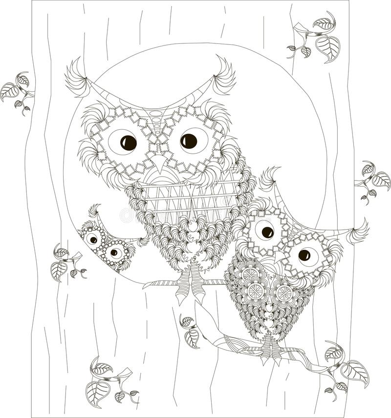Zentangle, stylized black and white owls family sitting in the hollow and on branches of tree trunk, hand drawn, vector. Illustration vector illustration