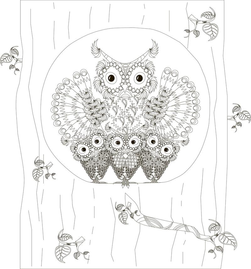 Zentangle, stylized black and white owls family sitting in the hollow of tree trunk, hand drawn, vector royalty free illustration