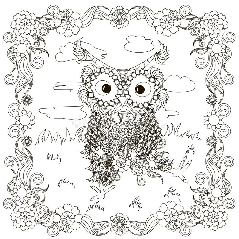 Zentangle, stylized black and white owls sitting with flowers on the lawn, clouds, hand drawing, for coloring book. For antistress page design element stock royalty free illustration