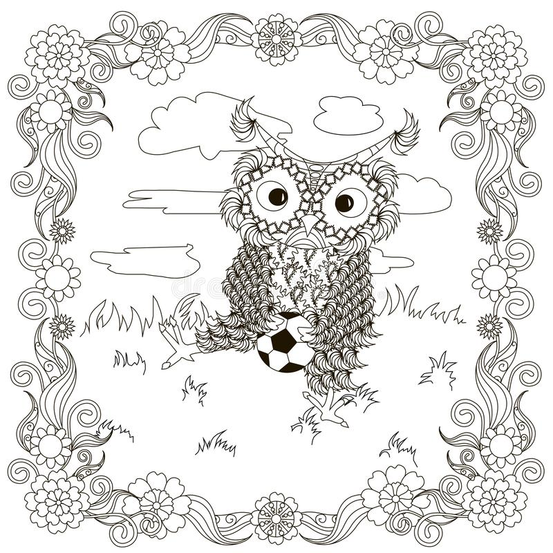 Zentangle, stylized black and white owls sitting with football on the lawn, floral frame clouds. Hand drawing, for coloring book, for antistress page design royalty free illustration