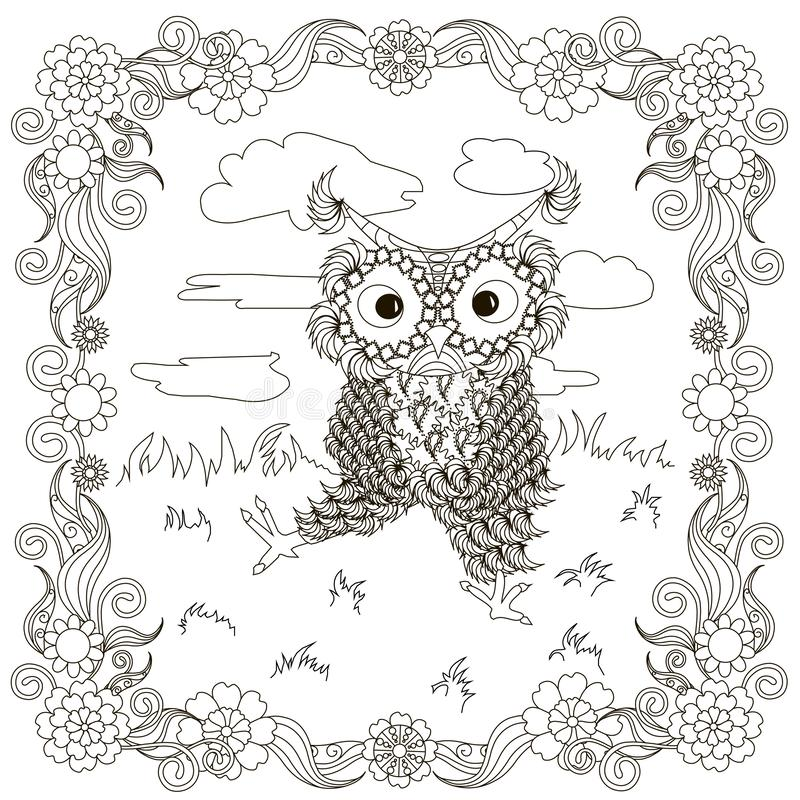 Zentangle, stylized black and white owls sitting on the lawn. Clouds, hand drawing, for coloring book, for antistress page design element stock vector royalty free illustration