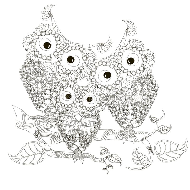 Zentangle stylized black and white three owls sitting on the tree branches, hand drawn stock illustration