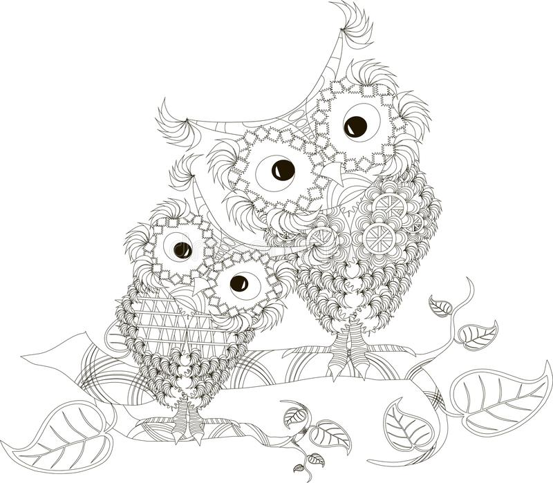Zentangle stylized black and white two owls sitting on the tree branches, hand drawn, vector. Illustration vector illustration