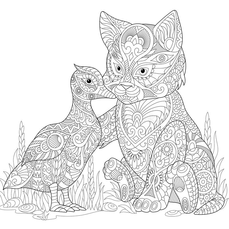 Zentangle stylized cat and duck vector illustration