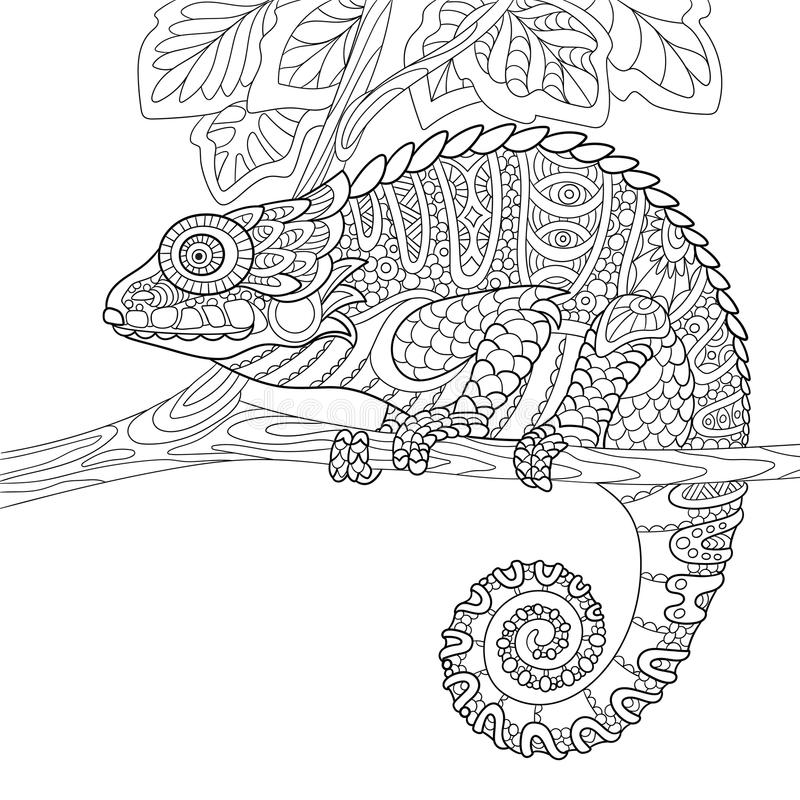 Zentangle stylized chameleon vector illustration