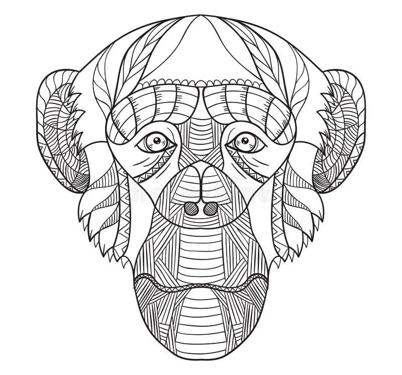 Zentangle stylized chimpanzee head, chinese zodiac, vector, illustration, freehand pencil, hand drawn, pattern. Monkey doodle. royalty free illustration