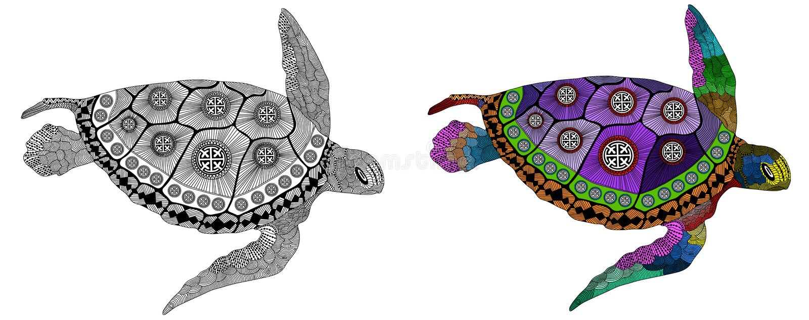 Zentangle Stylized Color And Black Turtle Stock
