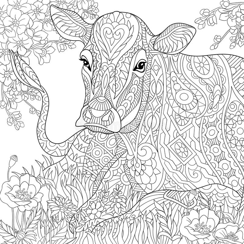 Zentangle Stylized Cow Stock Vector Illustration Of Adult