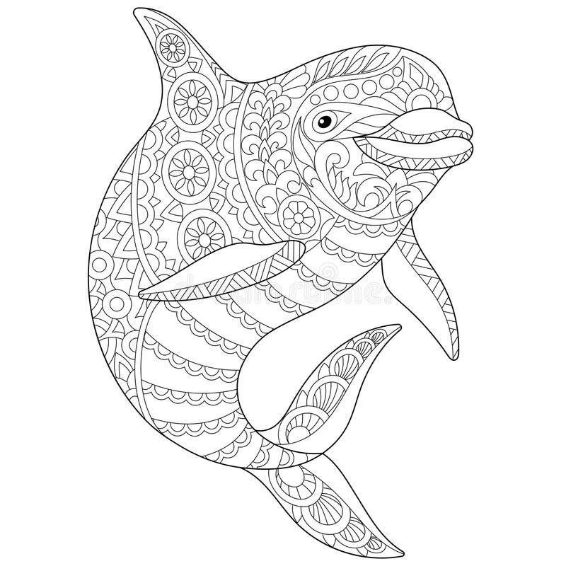 Download Zentangle Stylized Dolphin Stock Vector Illustration Of Antistress