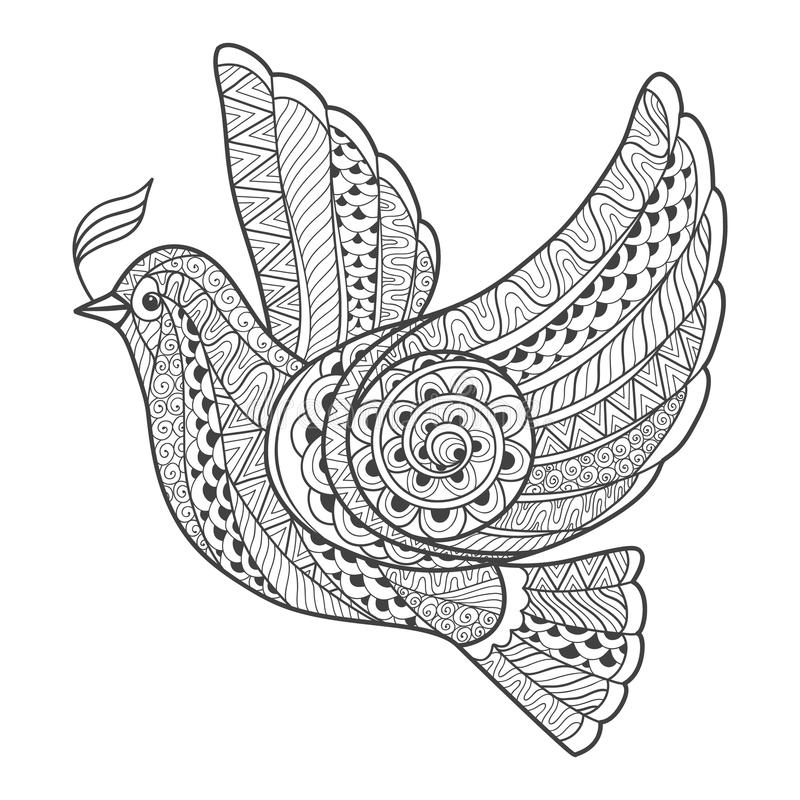 Zentangle stylized dove with branch vector illustration
