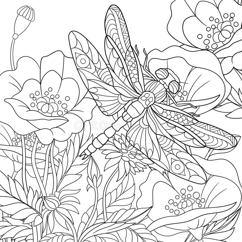 Zentangle stylized dragonfly insect. Zentangle stylized cartoon dragonfly insect is flying around poppy flowers. Sketch for adult antistress coloring page. Hand