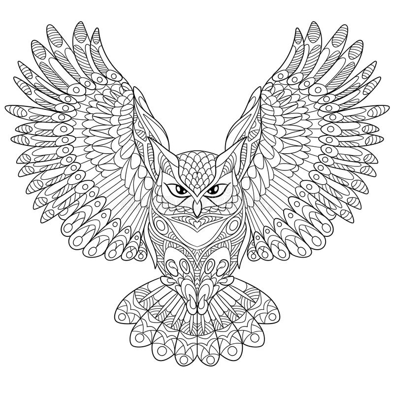 Free Zentangle Stylized Eagle Owl Royalty Free Stock Images - 69797109