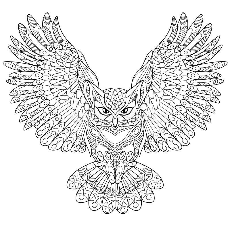 Zentangle stylized eagle owl royalty free illustration