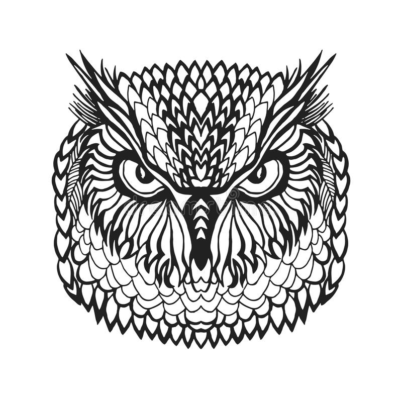 Zentangle stylized eagle owl head. Tribal sketch for tattoo or t-shirt. royalty free illustration