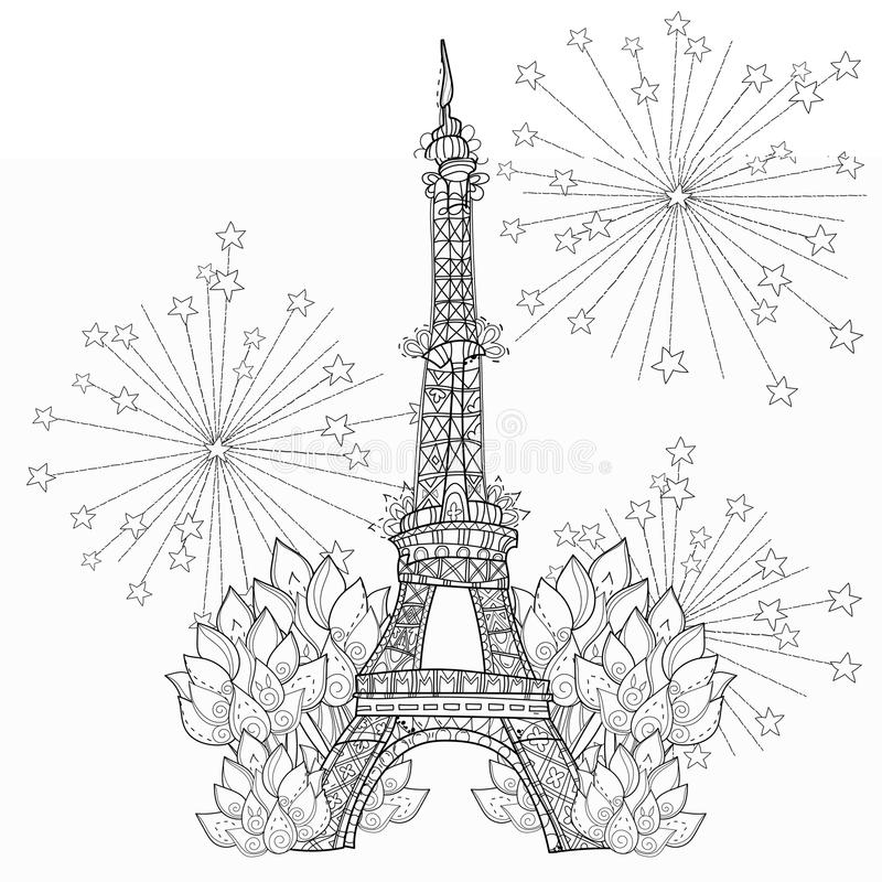 Zentangle Stylized Eiffel Tower Doodle Stock Illustration