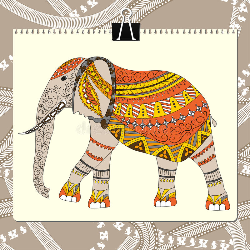 Zentangle stylized elephant. Animal collection. Hand drawn doodle. Ethnic patterned vector illustration. African, indian vector illustration