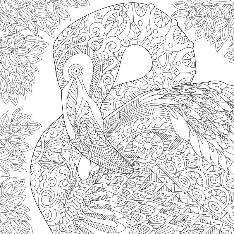 Zentangle stylized flamingo royalty free illustration