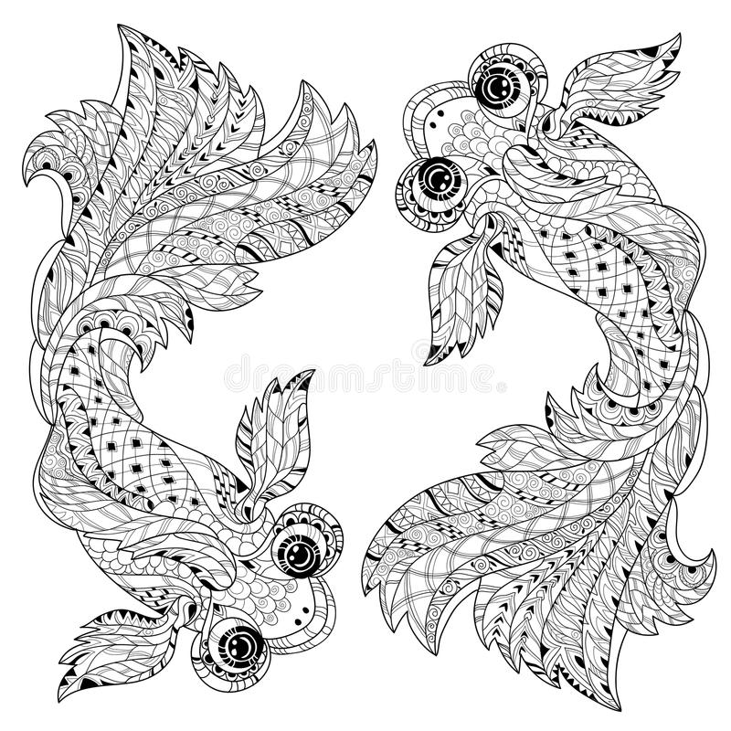 Zentangle stylized floral china fish doodle vector illustration