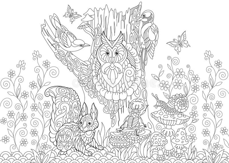 Download Zentangle Stylized Forest Animals Stock Vector   Illustration Of  Boletus, Beautiful: 98878850