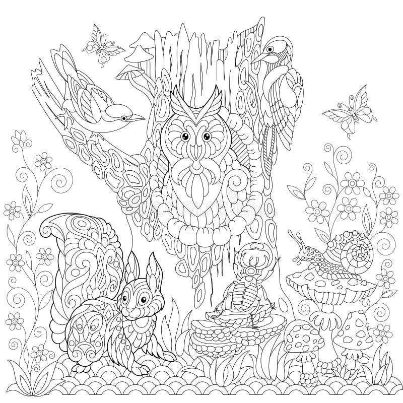 Zentangle stylized forest scene vector illustration