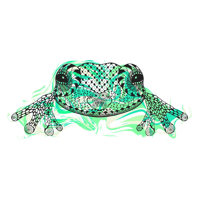 Zentangle stylized frog with abstract colorful grunge background stock illustration